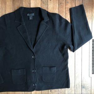 Lane Bryant Black Knit Cardigan 3 Button Blazer